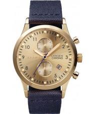 Triwa LCST103-CL060713 Gold Lansen Dark Blue Leather Strap Chrono Watch