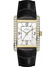 Rotary LS00166-22 Ladies Croco Black Leather Strap Watch