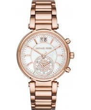Michael Kors MK6282 Ladies Sawyer Stone Set Rose Gold Plated Chronograph Watch
