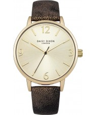 Daisy Dixon DD007BG Ladies Rosie Slim Black Gold Metallic PU Leather Strap Watch