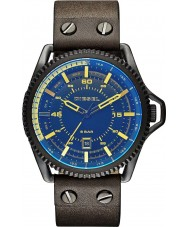 Diesel DZ1718 Mens Roll Cage Blue Flash Color Overlay Brown Leather Strap Watch