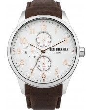 Ben Sherman WB004BR Mens White and Brown Leather Strap Watch