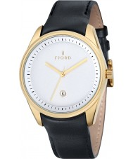 Fjord FJ-3002-02 Mens Dan 3 Hand Gold Black Watch