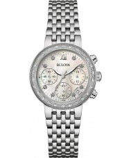 Bulova 96W204 Ladies Diamond Silver Steel Bracelet Chronograph Watch