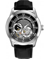 Bulova 96A135 Mens Automatic Black Leather Strap Watch