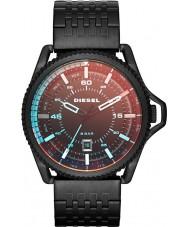 Diesel Mens Roll Cage Red Flash Color Overlay Black IP Bracelet Watch