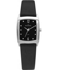 Skagen 691SSLB Ladies Steel Black Leather Strap Watch