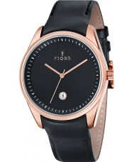Fjord FJ-3002-03 Mens Dan 3 Hand Rose Gold Black Watch