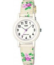 Casio LQ-139LB-7B2ER Junior Collection White Flowered Leather Cloth Strap Watch
