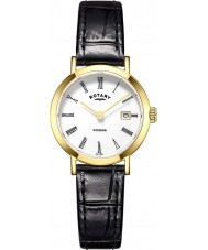 Rotary LS05303-01 Ladies Timepieces Windsor Gold Plated Black Leather Strap Watch