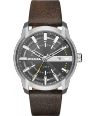Diesel DZ1782 Mens Armbar Dark Brown Leather Strap Watch