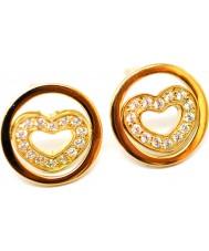 Babette Wasserman ER189G Ladies Twisting Gold Plated Heart Earrings