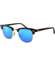 RayBan RB3016 49 Clubmaster Sand Tortoiseshell-Gold 114517 Blue Mirror Sunglasses