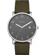 Skagen SKW6306 Mens Hagen Green Leather Strap Watch