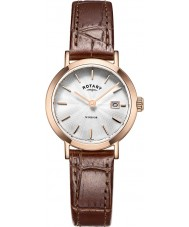 Rotary LS05304-02 Ladies Timepieces Windsor Rose Gold Plated Brown Leather Strap Watch