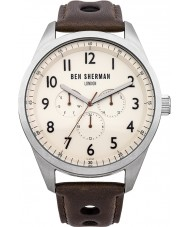 Ben Sherman WB005BR Mens Cream and Brown Leather Strap Watch