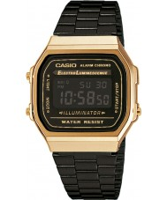 Casio A168WEGB-1BEF Mens Collection Black Steel Bracelet Watch