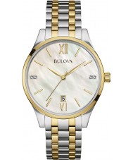 Bulova 98S149 Ladies Diamond Two Tone Steel Bracelet Watch