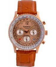 Krug-Baumen 400704DS Air Traveller Diamond Orange Leather Strap Watch