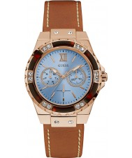 Guess W0775L7 Ladies Limelight Brown Leather Strap Watch