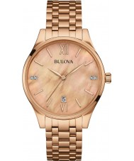 Bulova 97S113 Ladies Diamond Rose Gold Plated Bracelet Watch