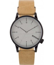 Komono KOM-W2259 Mens Winston Regal Beige Leather Strap Watch