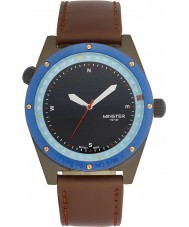 minster 1949 mens fryston brown leather strap watch