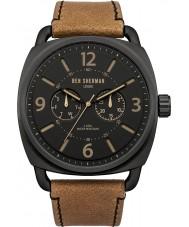 Ben Sherman WB006BR Mens Black and Tan Leather Strap Watch
