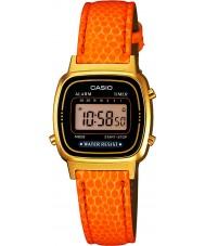 Casio LA670WEGL-4A2EF Ladies Collection Orange Leather Strap Watch