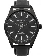 Ben Sherman WB007B Mens All Black Leather Strap Watch