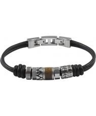 Fossil JF84196040 Mens Vintage Casual Black Leather Bracelet