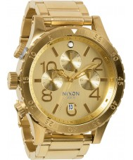 Nixon A486-1502 Mens 48-20 Gold Plated Bracelet Chronograph Watch