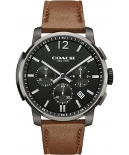 coach mens bleeker brown leather chronograph watch