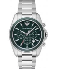 Emporio Armani AR6090 Mens Green Silver Chronograph Sports Watch