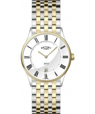 Rotary GB08201-01 Mens Ultra Slim White Two Tone Watch