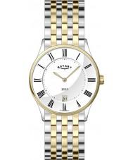 Rotary GB08201-01 Mens Ultra Slim White Two Tone Watch