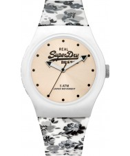 Superdry SYL177C Urban Floral White with Grey Floral Print Silicone Strap Watch
