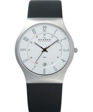Skagen 233XXLSLC Mens Klassik Chrome and Black Leather Strap Watch