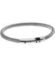 Emporio Armani EGS1623040 Mens Signature Rubber Inlay 2 Silver Steel Bracelet