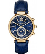 Michael Kors MK2425 Ladies Sawyer Chronograph Navy Blue Leather Strap Watch