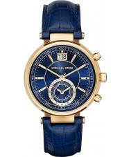 Michael Kors MK2425 Ladies Sawyer Chronograph Navy Blue Leather Strap Watch