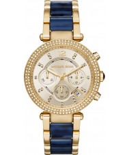 Michael Kors MK6238 Ladies Parker Gold Plated Navy Tortoiseshell Chronograph Watch