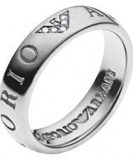 Emporio Armani EG3144040-5.5 Ladies Signature Silver Tone Slim Ring - Size M.5