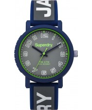 Superdry SYG196E Mens Campus Green Printed Grey Silicone Strap Watch