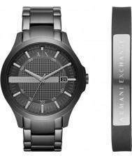 Armani Exchange AX7101 Mens Dress Black Steel Bracelet Watch and Leather Bracelet Gift Set