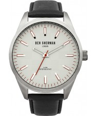 Ben Sherman WB007S Mens Grey and Black Leather Strap Watch