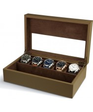 AVI-8 AV-CBOX-02 Mens AVI-8 Beige Collector Box with 5 Watch Compartments