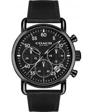 coach mens delancey black leather strap watch