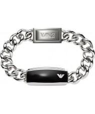 Emporio Armani EGS1729040 Mens Signature Sleek Black Matte ID Steel Bracelet