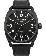 Ben Sherman WB008B Mens All Black Leather Strap Watch
